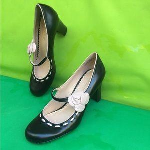 Black Pink Flower Mary Jane pumps leather heels